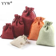 YYW Hot 10PCs/Lot Line Cotton Drawstring Jewelry/Wedding/Christmas/Candy Pouch Pouches Bags 5 Colors To Choose