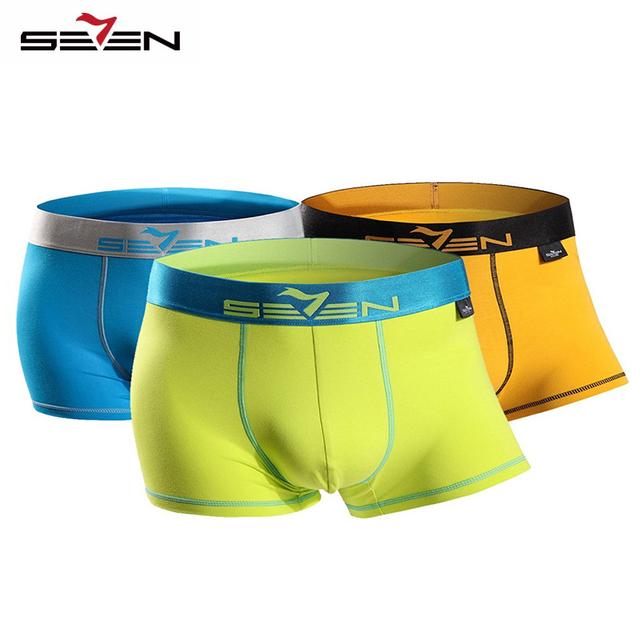 Seven7 marca hombres moda boxers underwear 3 unids \ paquete de alta elástico sexy boxeadores de los hombres activos casuales pantalones cortos 110f08040