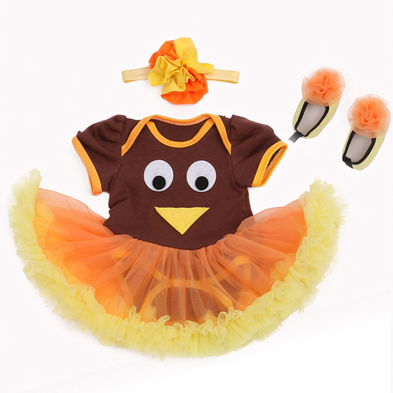 Trendy Infant Baby Girls Thanksgiving Turkey Tutu Romper Party Dress Brown Bodysuit Birthday Orange Yellow Skirt Newborns to 24M santa baby girl christmas outfit set tutu children girls 3 piece romper tutu skirt toddler tutus party dress infant clothing