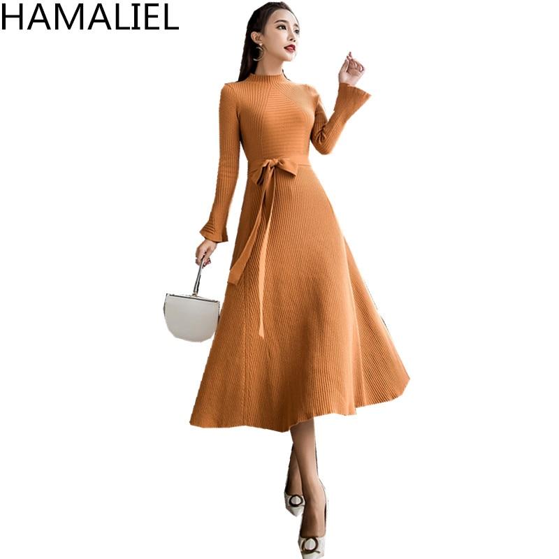 HAMALIEL Vestidos robe 2018 automne Woemn solide tricot col montant dames Flare manches Midi robe de bal robe de soirée ceinture blanche