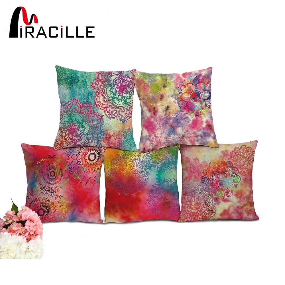 """Miracille Baumwolle Leinen Platz 18 """"Bunte Mandala Home Dekorative Sofa Dekokissen Wohnzimmer Kissen Ohne Füllung"""