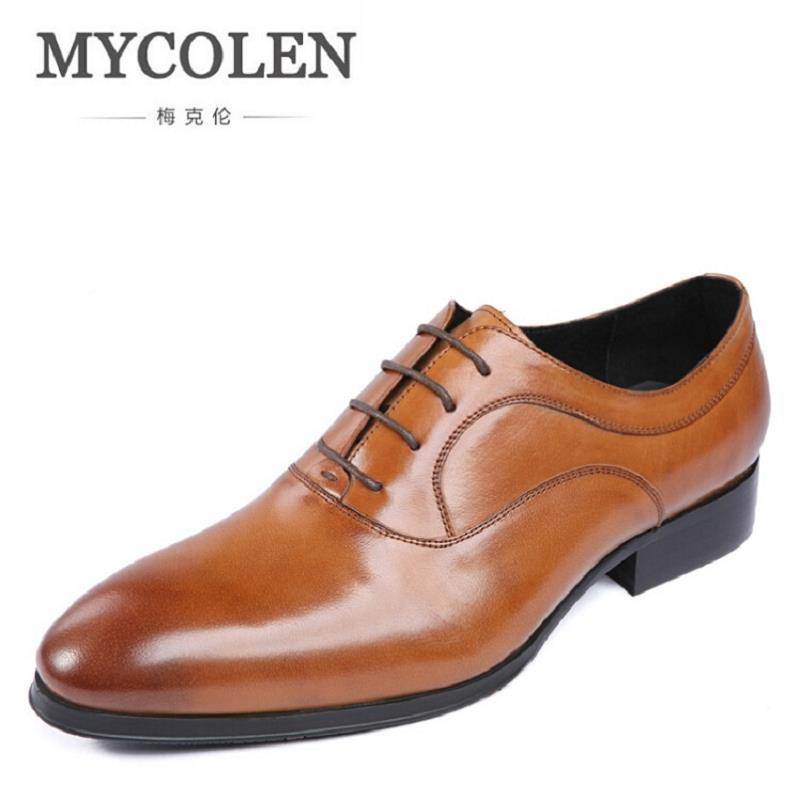 MYCOLEN Men's Leather Lace-Up Dress Brogue Shoes Mens Business Office Oxfords Man Casual Wedding Driving Flats Chaussure Homme fashion skull print mens top leather dress shoes designer elevator wedding shoes for men business oxfords chaussure homme