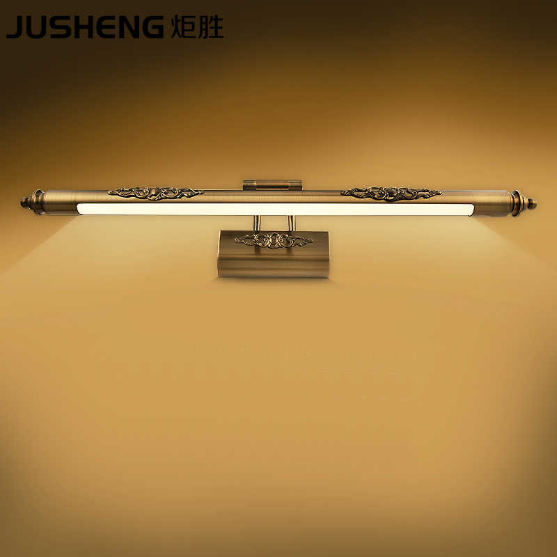 JUSHENG Klasik Antika Pirinç led duvar Lambaları Banyo Salıncak Kolu üzerinde Aynalar Resim Aydınlatma armatürleri indoor110V/220 V