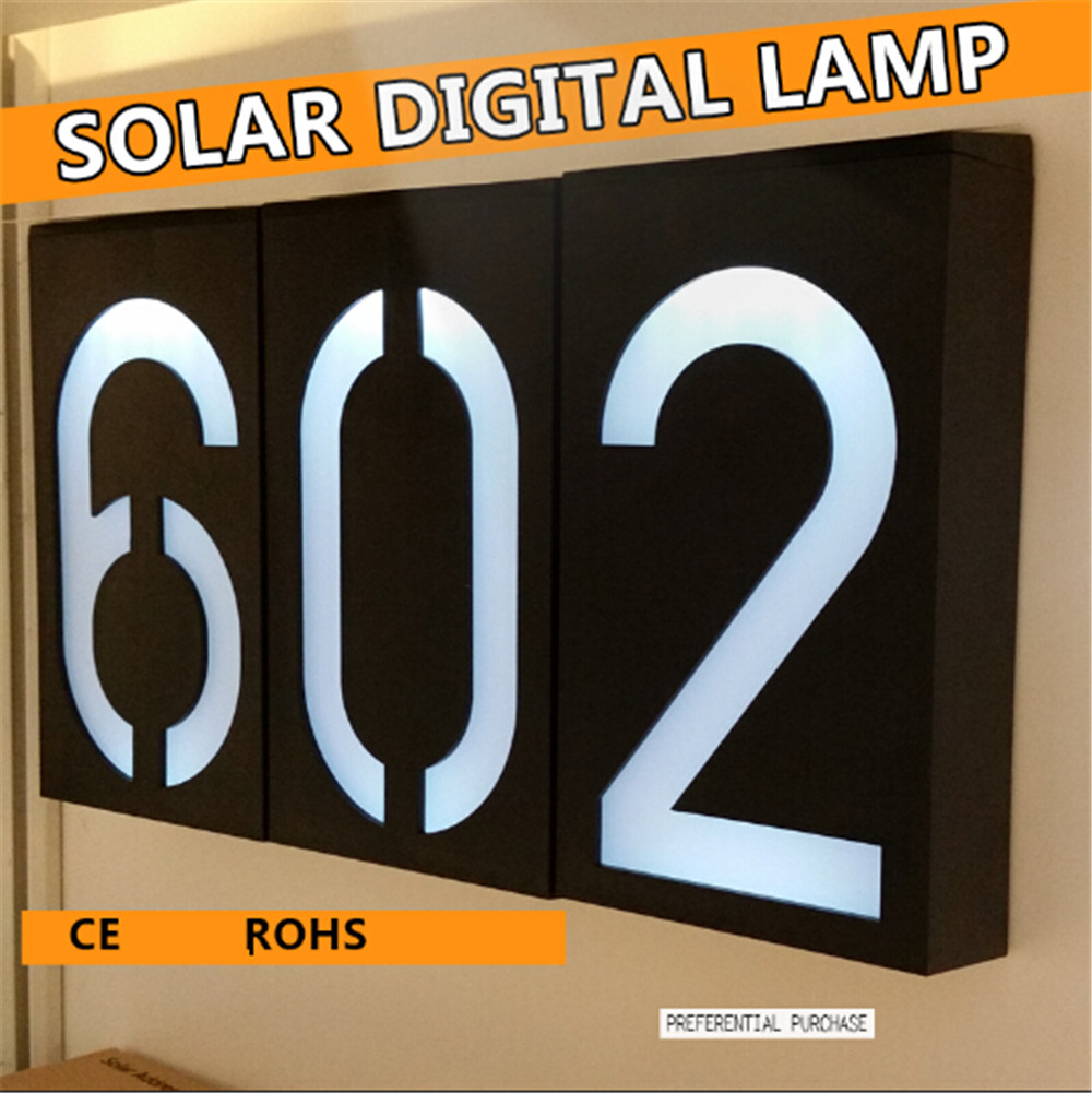 New arrival Solar Led Light solar power Number Doorplate light sensor Waterproof Mounted Outdoor Stairs Fence Wall Lamp Lighting