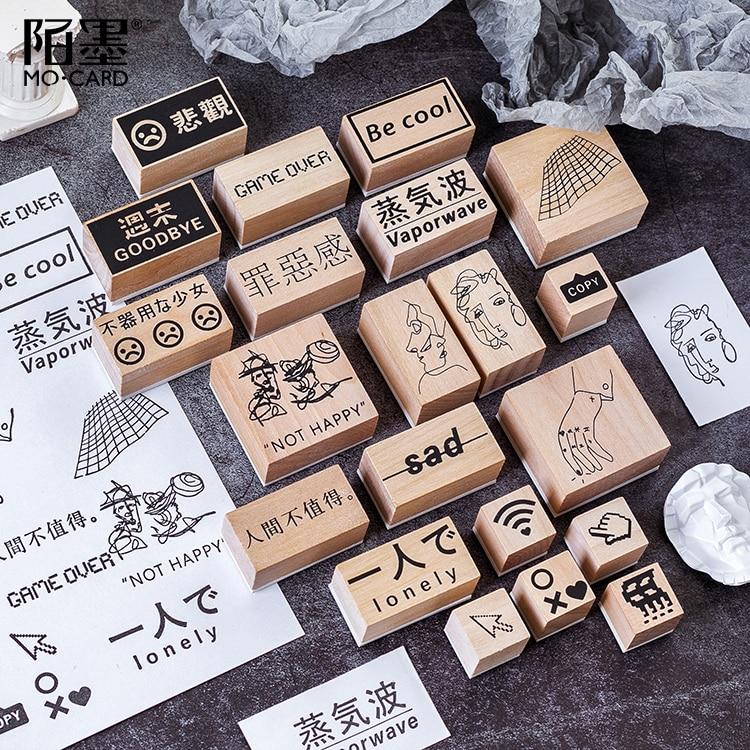1pc Vapor Wave Decorative Washi Series DIY Wooden Rubber Stamps For Scrapbooking Stationery Scrapbooking Standard Stamp