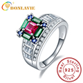 Brand Quality Luxury Ruby Emerald Sapphire Colorful Finger Rings Wedding Promise Ring Band 925 Silver for Women Size 6 7 8 9
