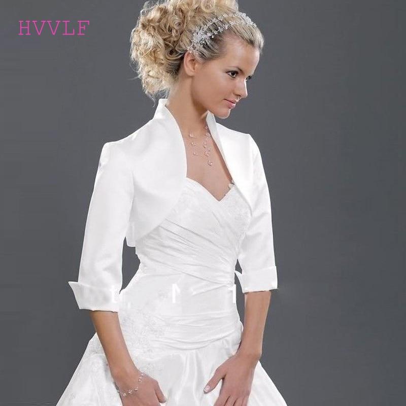 Custom Made Hot Sale High Neck 3/4 Sleeves Satin Wedding Jacket White Black Plus Size Bridal Jackets