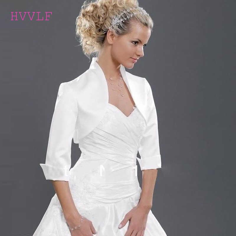 Custom Made Hot Sale Tinggi Leher 3/4 Sleeves Satin Pernikahan Jaket Putih Hitam Plus Ukuran Bridal Jaket