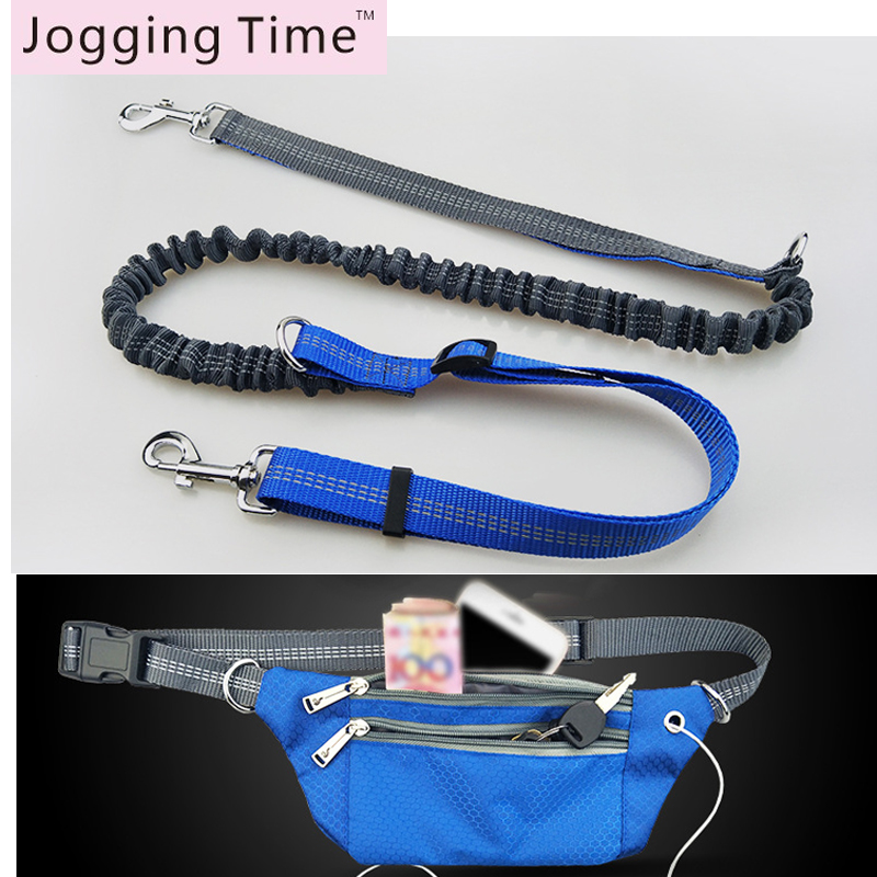 Dogs Leashes Waist Rope bag Set Running Elasticity Hand Freely Pet Dogs Harness Collar Jogging Lead and Adjustable Dog Leash