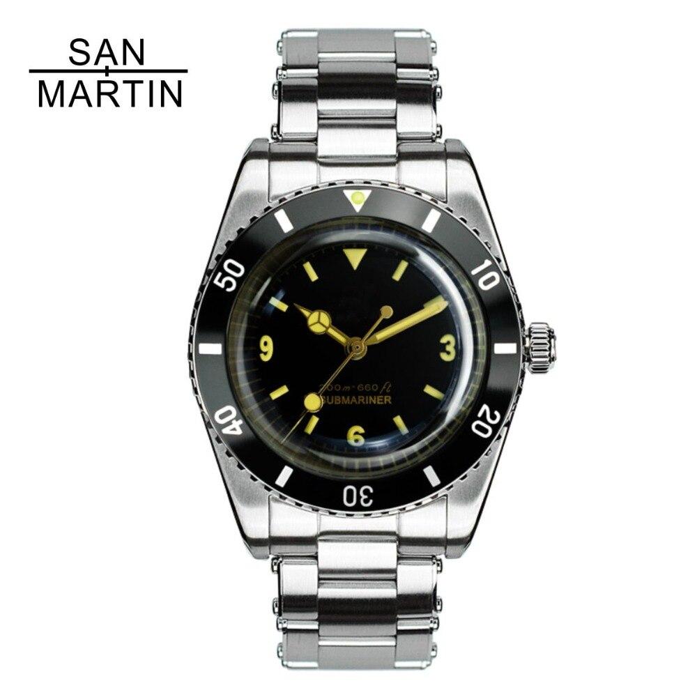 San Martin Hommes montre vintage Automatique montre de plongée Stainlss Acier Montre 200 m résistant à l'eau Suisse ETA 2824_2 Mouvement