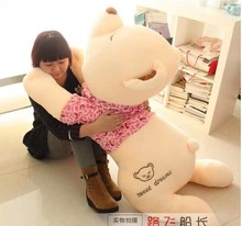 huge lovely lying bear toy plush squinting bear with pink cloth doll gift about 130cm