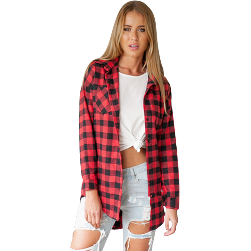 Red plaid shirt women blouses long sleeve loose long Womens red plaid shirts blouses