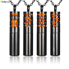Hot Black Bottle Aromatherapy Diffuser Necklace Stainless Steel Perfume Vial Essential Oil Diffuser Pendant Locket Women Men