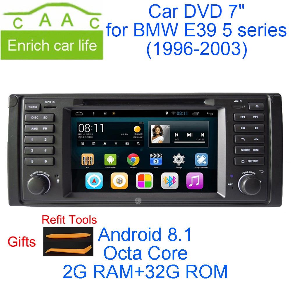Date Android 8.1 Octa Core 2g RAM 32g ROM GPS Navi 7 Lecteur DVD de Voiture pour BMW e39 5 Série 1996-2003 avec BT/RDS/Radio/3g/WIFI