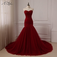 ADLN Cheap Wedding Dress Burgundy Sweetheart Sleeveless Tulle Mermaid Wedding Dresses Vestido De Novia Color Custom
