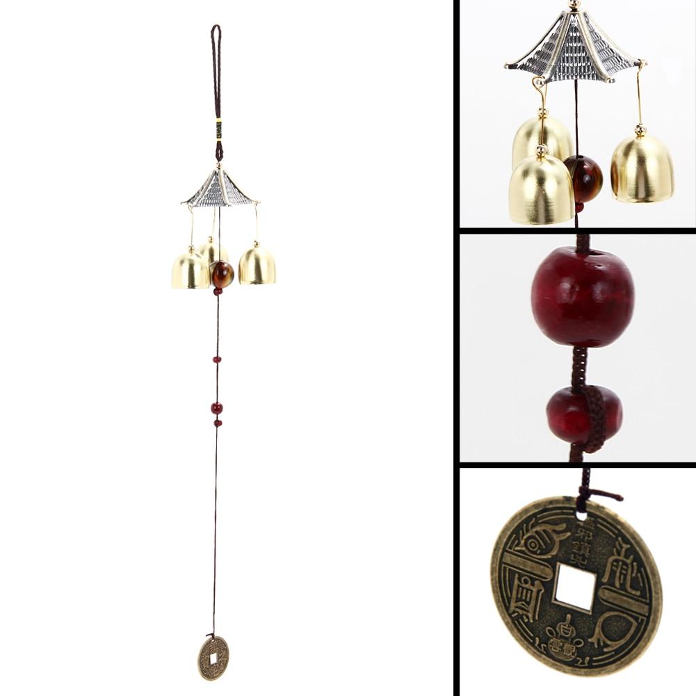 ₩Estilo chino viento Chime con 3 campanas Bronce al aire libre patio ...