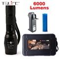 6000LM LED Фонарик CREE XM-L2 Алюминиевый Факел Масштабируемые LED Факел Лампы Для 3 АА или 18650 Батареи
