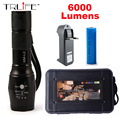 6000LM LED Flashlight CREE XM-L2 Aluminum Torch Zoomable LED Torch Lamp For 3XAAA or 18650 Battery