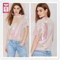 HDY Novo 2016 Feminino Deslumbramento Rosa Lantejoulas Curto Streewear Camisetas Ladys Mangas Curtas Midriff OL Womens Tops de Culturas