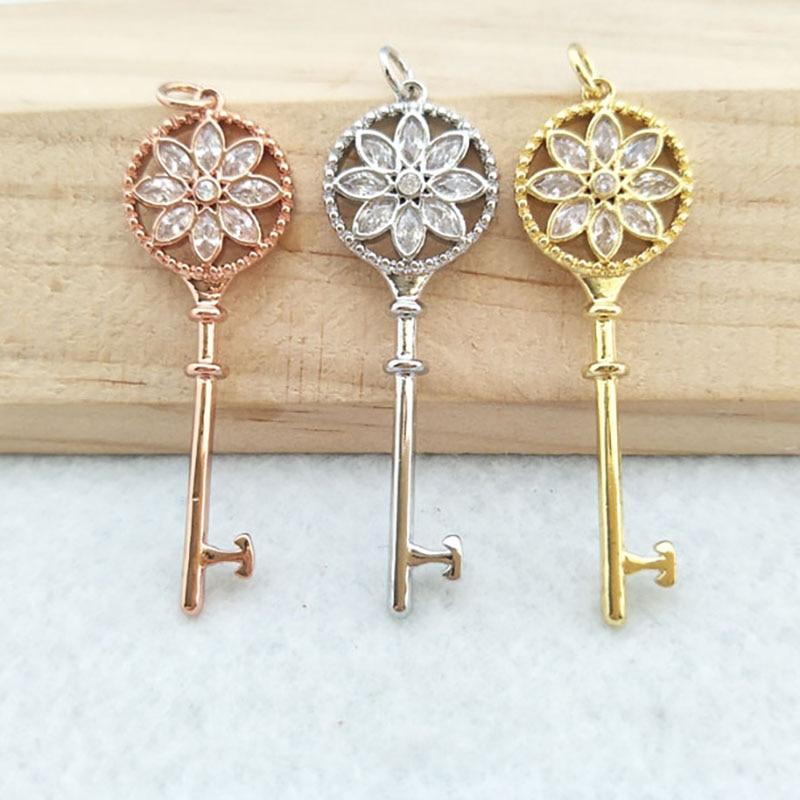 5 Pcs Tiny CZ crystal key shaped Charm,CZ zircon Stone Micro pave Pendant,women Jewelry Finding DIY necklace making PD818(China)