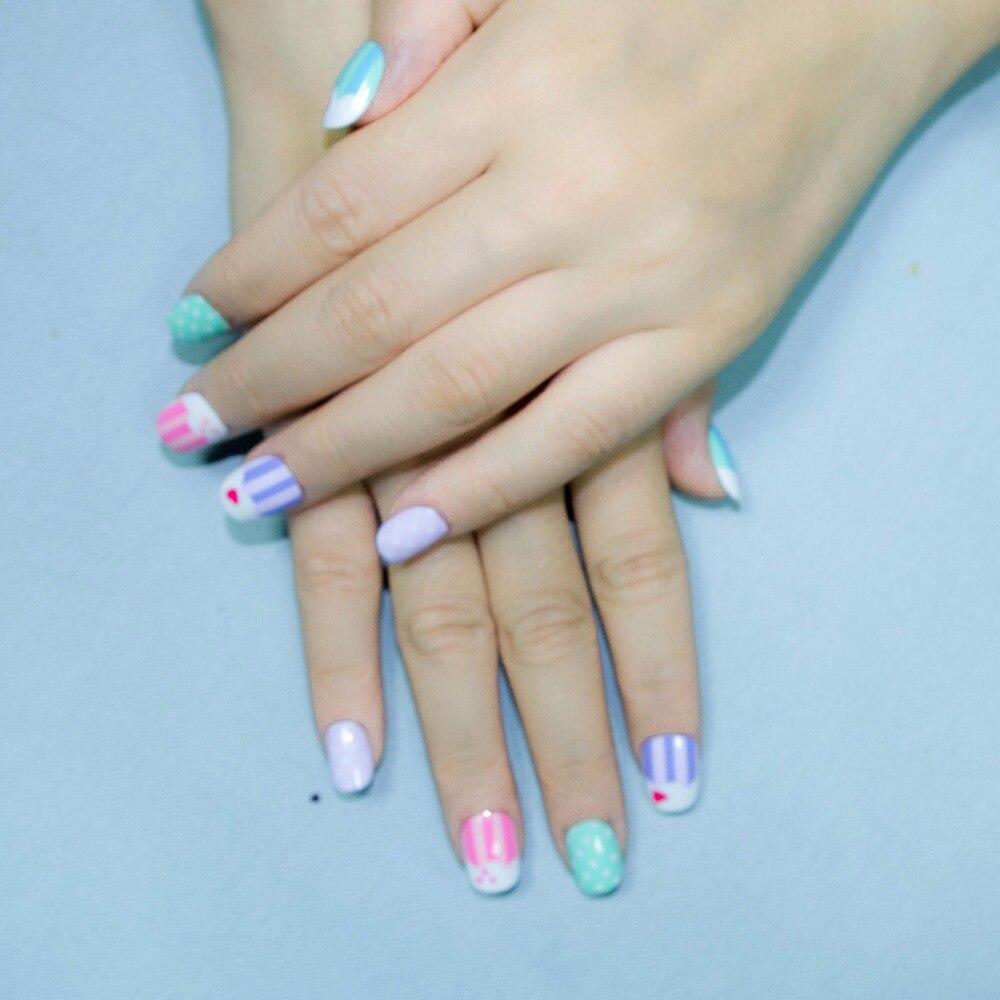 20 Pcs New Candy Kawaii Children Fake Nails Pre glue Nail Tips Press ...