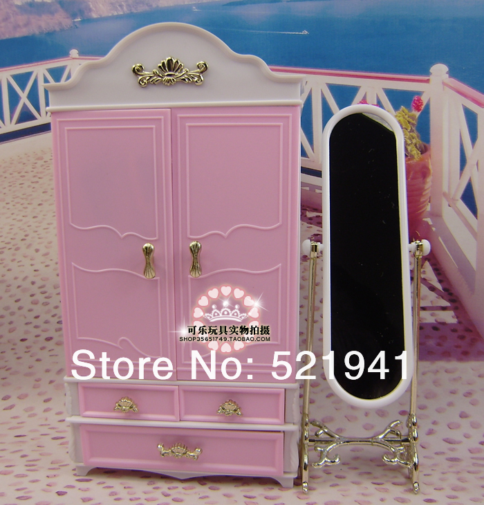 Free Delivery, doll furnishings wardrobe+moirror+hanger  for barbie doll,doll accessoriesfor barbie