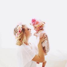 NASHAKAITE 1/2pcs Fashion Cute Mommy & Kids Wreath Flowers Headband Floral Crown Hairbands Travel Wedding Girls Headwear