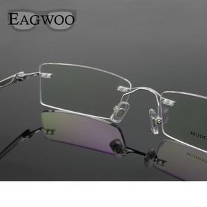 Image 4 - Pure Titanium Eyeglasses Rimless Optical Frame Prescription Spectacle Frameless Glasses For Men Eye glasses 11090 Slim Temple