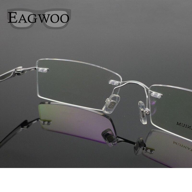 de3a4fbd32e28 Óculos De Titânio puro Frame Ótico Sem Aro Prescrição Espetáculo Óculos Sem  Armação Para óculos Homens Olho 11090 Fino Templo em Armações de óculos de  ...