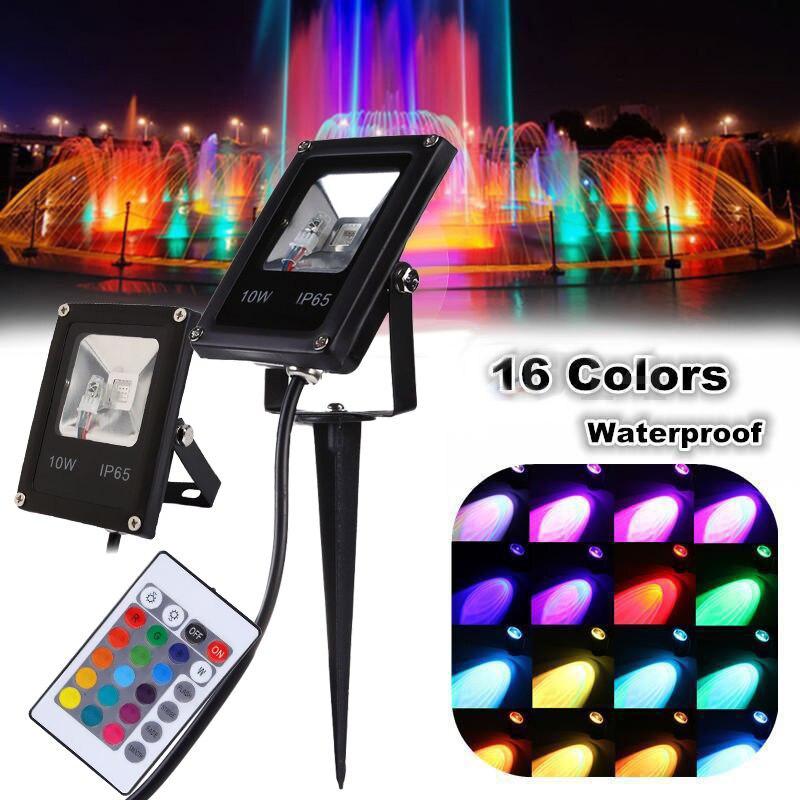 10W IP65 RGB LED jardín luz del punto al aire libre del proyector del estanque de jardín del patio de la lámpara + control remoto