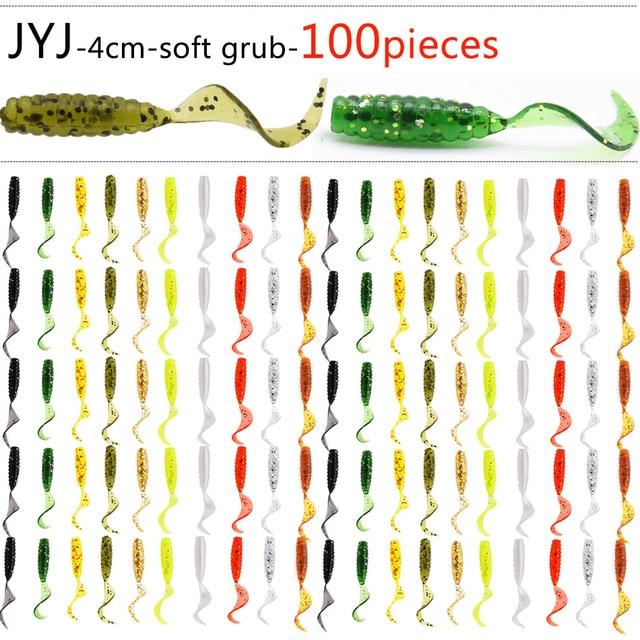 100 pcs Mềm nhựa nhân tạo isca pesca vòng tròn đuôi protein Grub mồi giun mồi câu cá moggot grub mồi lure 4 cm