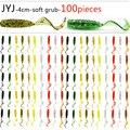 100pcs Soft plastic artificial isca pesca circle tail protein Grub lure fishing worm moggot grub lure baits 4cm