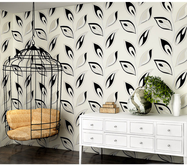Modern Simple Leaf Wallpapers Living Room Decor 3d Black And White Wallpaper Non Woven Pruple