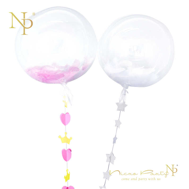 Nicro 1 Set 18'' Pink White Feather Balloons Valentine's Day 1.5M 3D Heart Gold Crown Star Garland DIY Wedding Party Decor #BS02