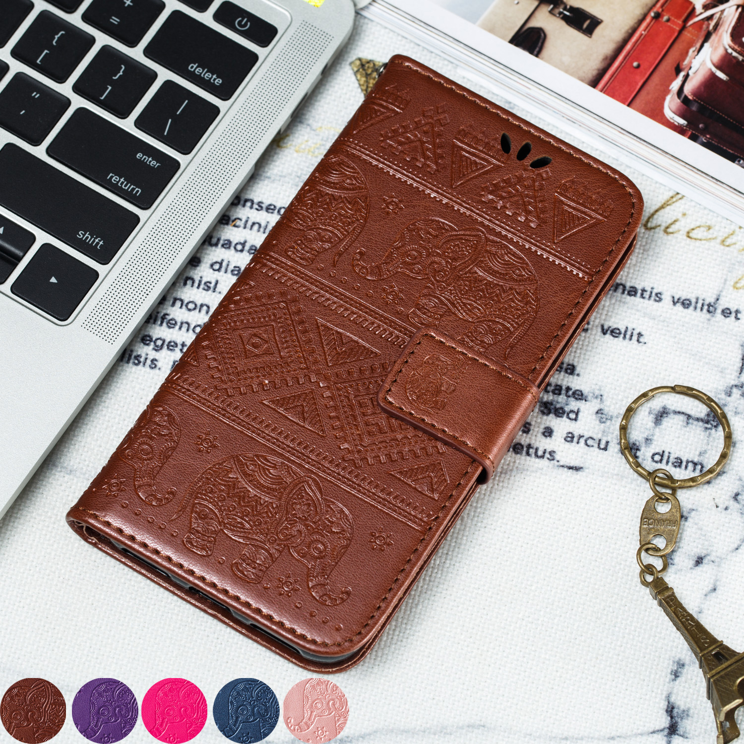Pattern Printing Leather Wallet Case