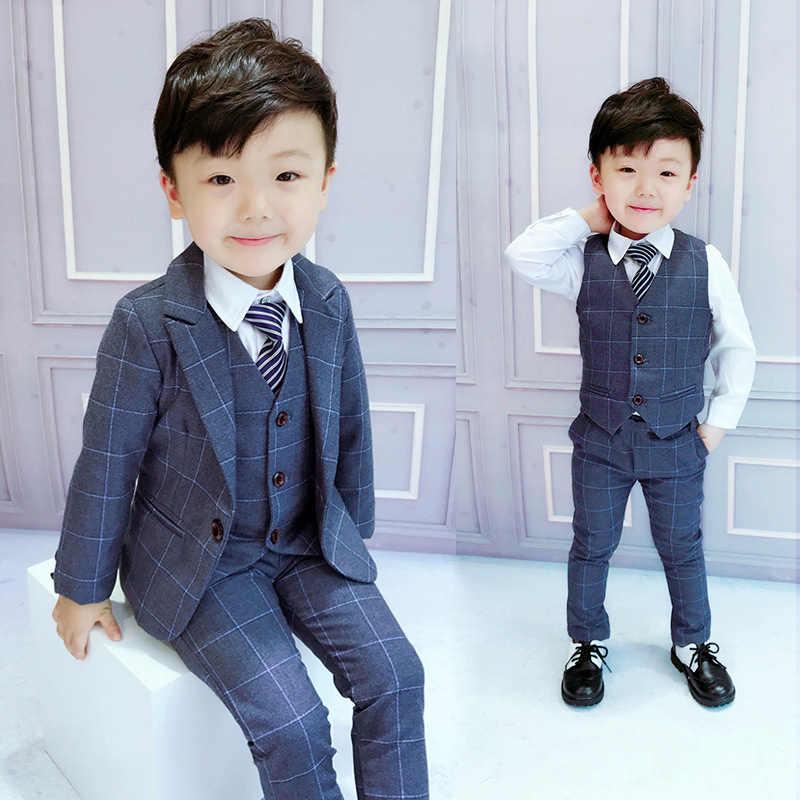 Брендовые Детские костюмы с цветочным узором для мальчиков Детский Блейзер торжественное платье, костюм для свадьбы, дня рождения, комплект одежды, пиджак, жилет, брюки 3 предмета, F125
