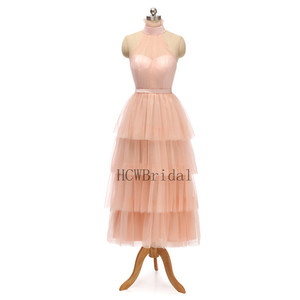 Image 2 - 2020 New Tiered Tulle Long Evening Dress High Neck A Line Tea Length High Quality Formal Prom Gowns Cheap Women Party Dresses