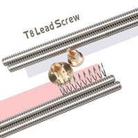 1 juego THSL-300-8D 100/200/300/350/400/500mm tornillo de plomo Trapezoidal + T8 tuerca de resorte anti sacudidas para impresora CNC y 3D