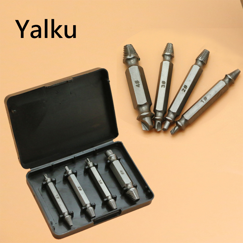 Yalku 4pcs Damaged Screw Extractor Drill Bits Guide Set Broken Speed Out Easy Out Bolt Stud Stripped Screw Remover Tool