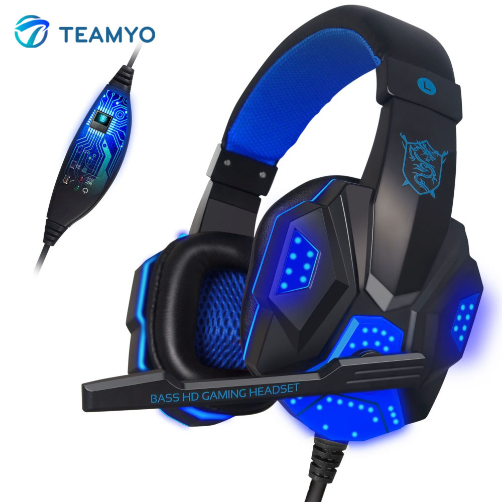 Teamyo PC780 Gaming headset Wired Stereo headphones with microphone For Internet Bar Luminous auriculares For computer Laptop teamyo pc780 glowing gaming headset wired headband headphones with mic over ear stereo auriculares for laptop computer gamer