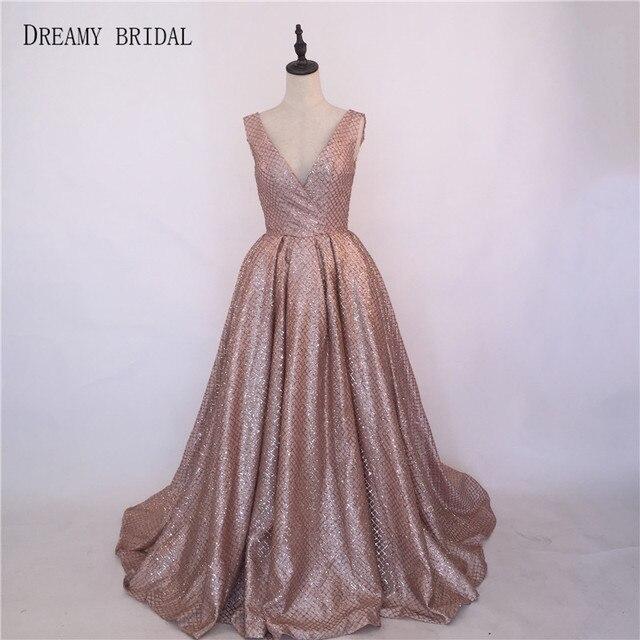 Dreamy Bridal Sparking Evening Dresses Deep V Neck Robe De Soiree Glued  Glitter Formal Gowns Sleeveless Zipper Up Custom Made 8fbaa95d15e3