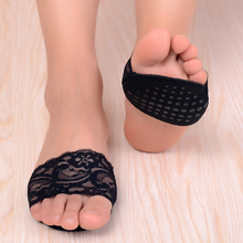 5PAIRS/SET sponge lace forefoot Shoe pad Insoles women's high heel orthopedic insoles Protect Comfy Feet Care Non-slip paw pad eykosi 5pairs non woven fabric water drop forefoot sticker for women high heels flattie