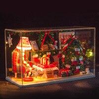 크리스마스 DIY 인형 집 3D 소형 나무 조립 + 빛 수제 키트 건물 모델 나무 인형 집