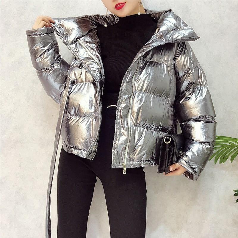 Silver Down Jacket Female Parkas Street Zipper Long Sleeve Winter Coat 2017 Women Warm Parka Jacket Women down daisy street