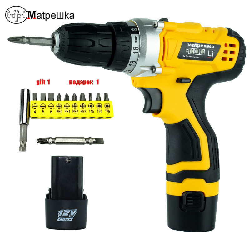 12V Electric drill cordless screwdriver with Power tools 2 lithium battery Screwdriver charged drill auto feed screwdriver free shipping brand proskit upt 32007d frequency modulated electric screwdriver 2 electric screwdriver bit 900 1300rpm tools