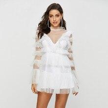 Women's Sexy white lace mesh dress New 2019 summer backless layered dress A298 недорого