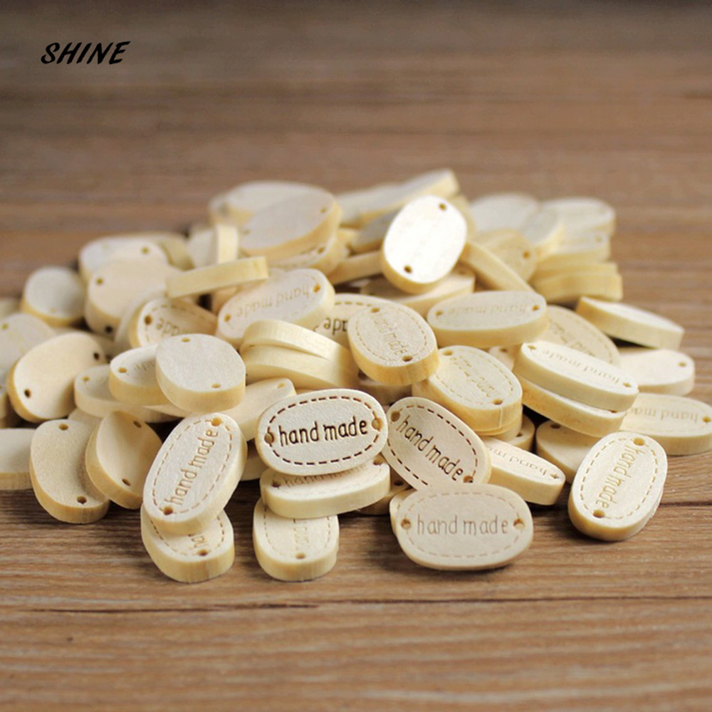 50pcs 2 Holes Sewing Wood Buttons Hand Made Word Scrapbooking Crafts 19 x 12mm Decorate bottoni botoes W2001
