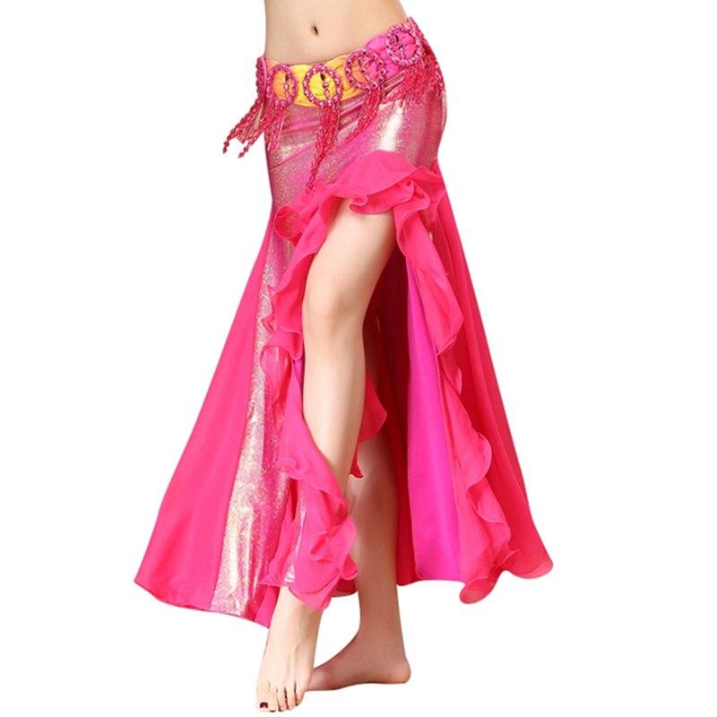 3b222fdfe56a5 6 ألوان الشرقية رقص الملابس طويلة التنانير الجانب سبليت مطاطا الخصر النساء  الترتر التنانير الرقص الشرقي تنورة