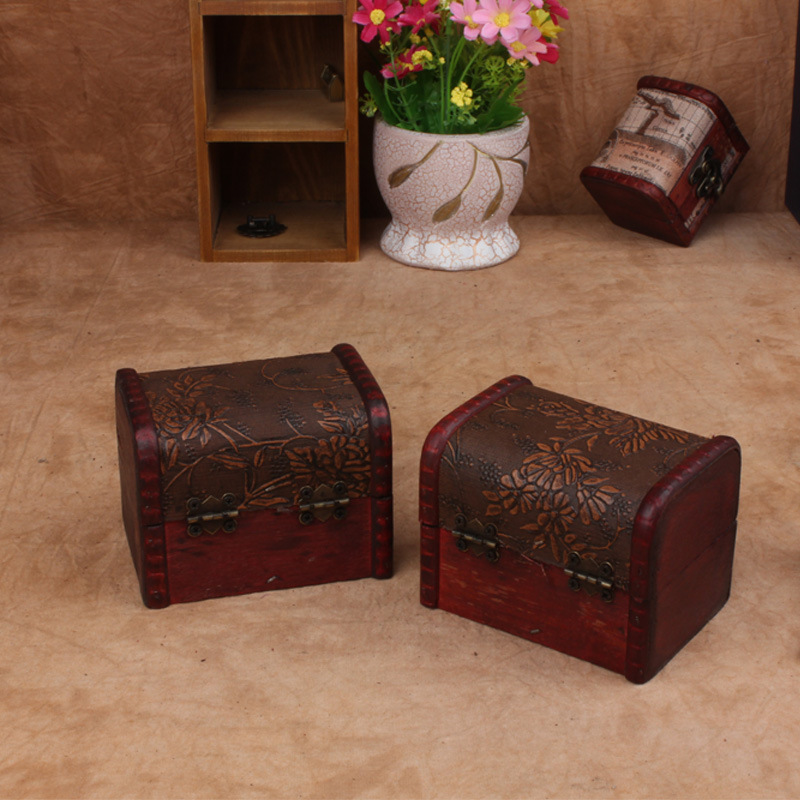 Wood box storage for chic earrings ring necklace mini for Vintage wooden storage boxes