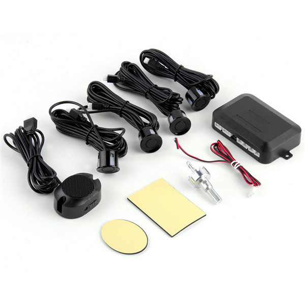 Black Universal Waterproof 12V 4 Parking Sensors Car Auto Reverse Backup Rear Radar System Kit Sound Alert Alarm Indicator
